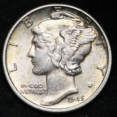 UNCIRCULATED1945 D Mercury Silver Dime FREE SHIPPING