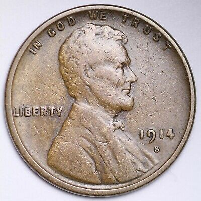 XF 1914 S Lincoln Wheat Cent Penny FREE SHIPPING