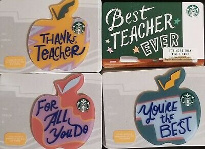 10 sets NEW STARBUCKS 2019 TEACHER APPLE DIE CUT GIFT CARDS LOT LIMITED 40 cards