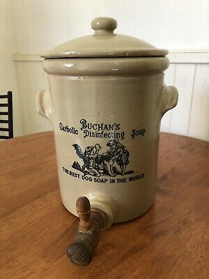 Buchans Carbolic Dog Soap Stoneware Crock/Jug W Tap- RARE - Made In England