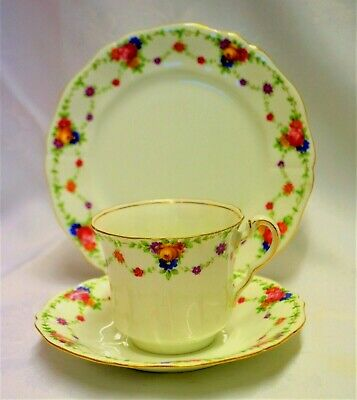 E Hughes England Trio Swags Roses  Great Condition Tea Cup Saucer Plate