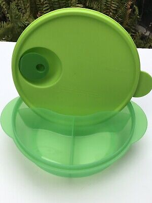 Tupperware Lunch Bowl DIVIDED Crystalwave Round (+/- 4cup) Green New