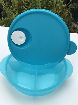 Tupperware LUNCH BOWL Divided Microwave Crystalwave Dish Vented Blue 4 Cups New
