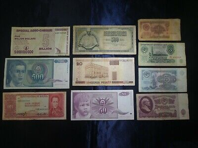 Lot Of 10 Pcs Assorted World Banknotes - Bargain!