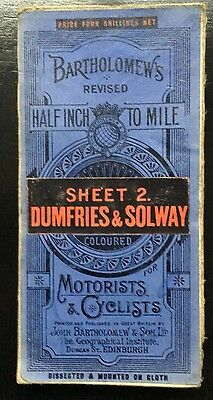 Map Bartholomew's Map - 2 miles/1 inch Sheet 2 Dumfries & Solway Antique Vintage
