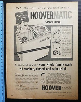 1959 vintage ad HOOVERMATIC Twin Tub Washing Machine Washer advertisement Hoover