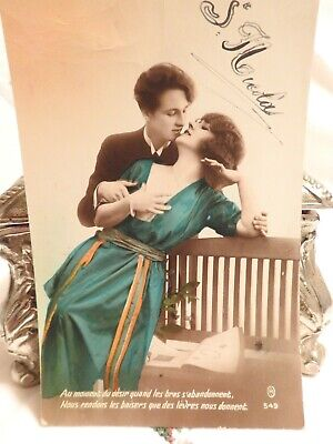 Authentic 1920's Romance Glamour Couple Flapper Lady Hand Tinted