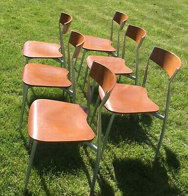 6 X Mid Century Retro Vintage Metal & Wood Stacking Dining Chairs