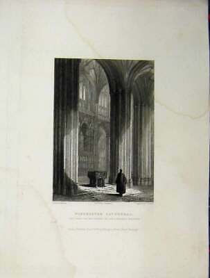 Original Old Antique Print C1837 Winchester Cathedral Wykehams Monument Winkles