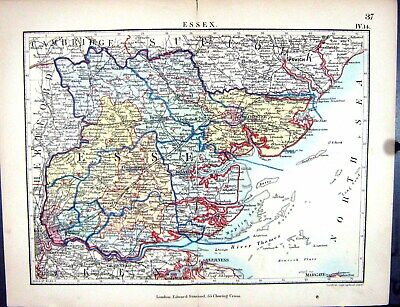 Old Print Stanford Map 1885 Essex England Colchester Chelmsford Braintree 19th