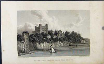 Original Old Antique Print Fine Art Rochester Castle Bridge C1849 Victorian