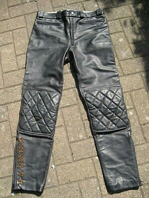 VINTAGE BLACK LEATHER LEWIS LEATHERS MOTORCYCLE BIKER TROUSERS 36inch WAIST