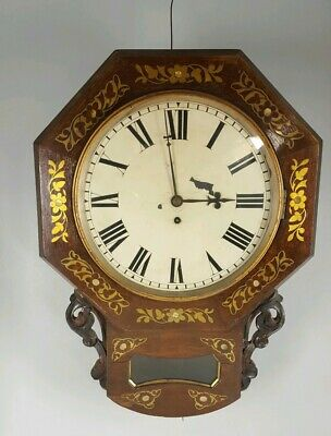 19th CENTURY  MAHOGANY ENGLISH FUSEE  DROP DIAL WALL CLOCK CAMERER CUSS