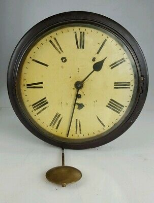 19th CENTURY MAHOGANY ENGLISH FUSEE STATION OR SCHOOL WALL CLOCK FOR RESTORATION