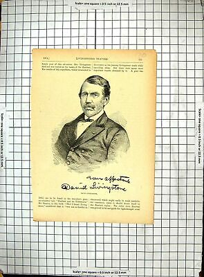 Original Old Antique Print Portrait David Livingstone Explorer