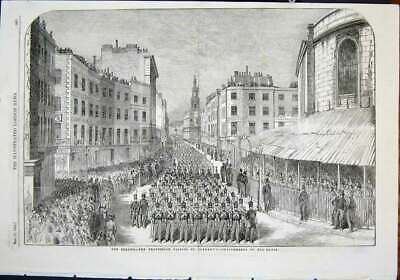 Original Old Antique Print Wellington Funeral Procession The Strand St Clement'S