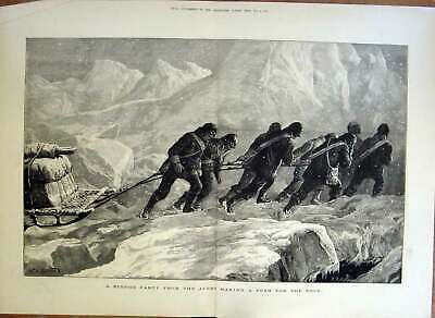 Original Old Antique Print Making A Push For North Pole 1876 Expedit Victorian