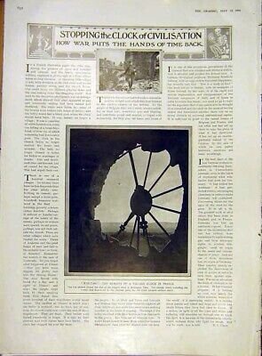 Original Old Antique Print War-Time Ww1 Village Clock France Yser Church 1916