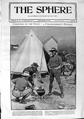 Original Old Antique Print 1900 Christmas Pudding Veldt War Siers Camp Fire