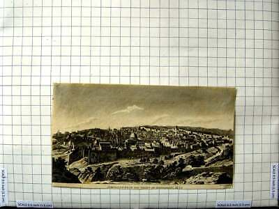Original Old Antique Print 1820 View Jerusalem Valley Jehosaphat 19th Century
