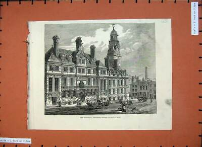 Antique Old Print *0215 1876 New Townhall Leicester Building Architecture Art