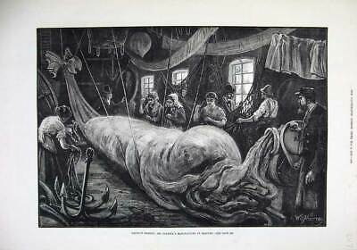 Old Antique Print 1879 Balloon Making Coxwell'S Manufactory Seaford Art 19th