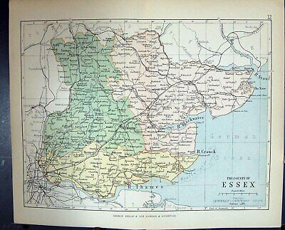 Antique Old Print Philips Map 1882 Essex Chelmsford Stour Blackwater England