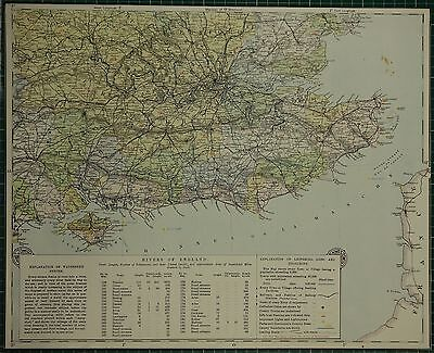 1883 Letts Map ~ Susses Surrey London Rivers Of England Isle Of Wight Hertford