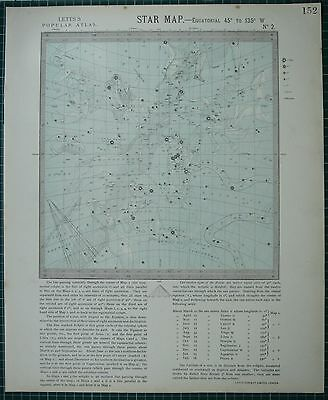 1883 Letts Star Map & Constellations ~ West Canis Major Lepus Orion Astronomy