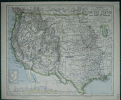 1883 Letts Map ~ United States Western Nevada California Idaho New Mexico