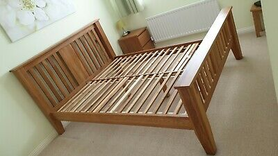 King size solid oak bed frame