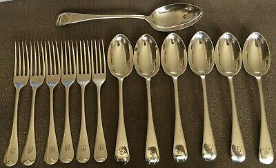 Set Of 6 Silver Plated Desert Spoons And Forks With Serving Spoon.