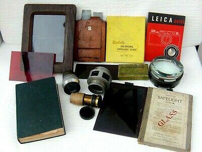 Vintage Photographic Equipment Lenses,Plates,Tinted Glass Plates,Books ect