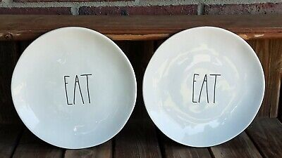 """Rae Dunn Set Of 2 """"EAT """" 8.25 Inch Salad Plates. New!! 2 sets are available"""