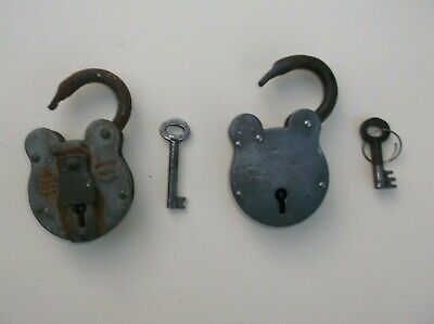 Vintage .english Padlocks X2 With Keys.