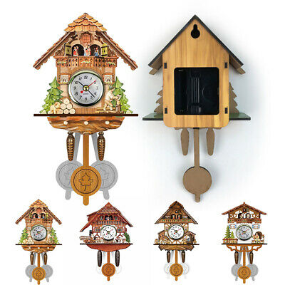 Decoration Wall Clock Time Bell Vintage Antique Wooden Cuckoo Bird Swing Home