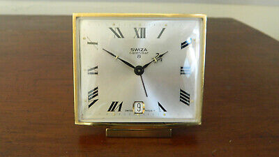 Vintage Swiza Swiss Made 8 Day Calendar Alarm Clock