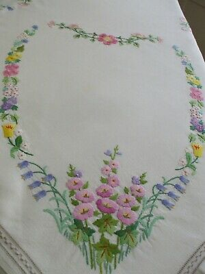 "Vintage Irish linen hand embroidered tablecloth 49"" x 49""sq"
