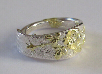 Sterling Silver Spoon Ring -  Tiffany / Wild Rose - size 7 1/2 - 1872