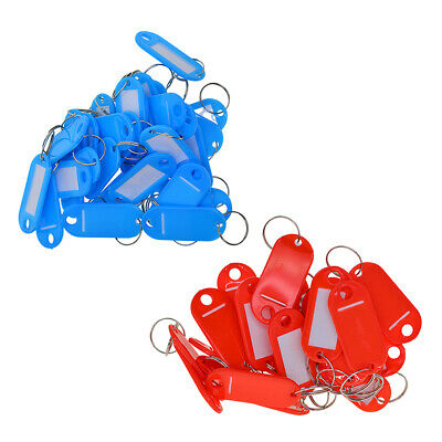 100x Key Ring Tags Plastic Assorted Name Label Id Keys Tag Luggage Fob Rings