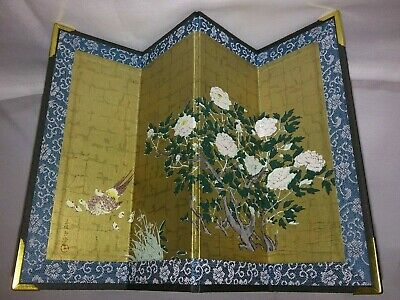 Antique Signed Japanese Miniature Woodblock Print Folding Screen~ Peonies UCHIDA