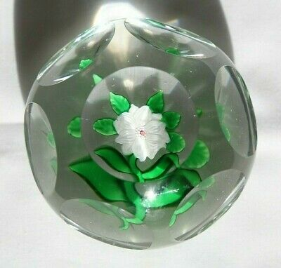 Antique Baccarat Double White Clematis Paperweight