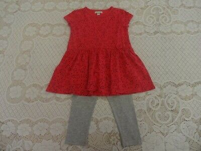 Girls Vertbaudet Red Short Sleeve Tunic Top / Dress & Grey Leggings Set - Age 3