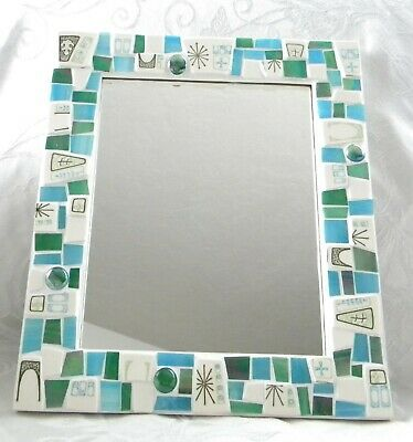 Retro ATOMIC Mosaic Wall Mirror - Stained Glass - China Tiles - Art Piece