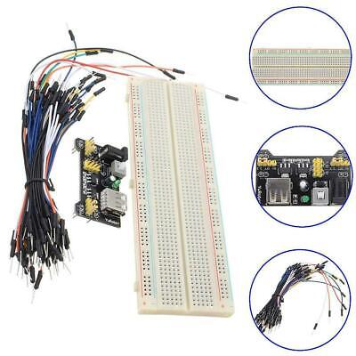 MB-102 830 Point Solderless Breadboard PCB+Power Supply+65pcs Jump Cable WireTR