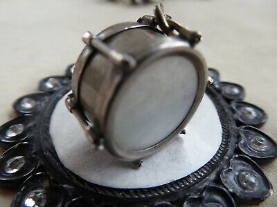 Vtg Sterling Large Drum Charm MOTHER OF PEARL BOTH SIDES
