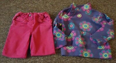 Primark Gorgeous pink jeans & purple floral print stylish top age: 3-4 years
