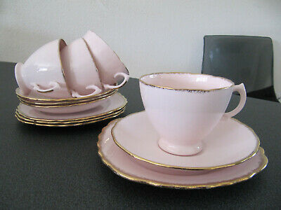 Royal Vale Pink Teacups. Saucers and Cakeplates with Gold Powder Trim