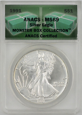 1991 American Silver Eagle Monster Box Collection 1 oz. .999 ANACS MS69