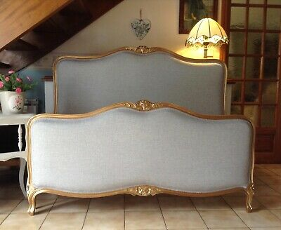 Beautiful Vintage French Capitonne Double Bed Frame - Gold  - Grey Upholstery